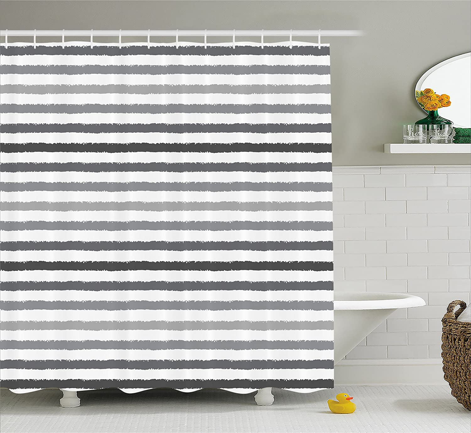 Ambesonne Striped Shower Curtain Set Gray And White Stripes Monochrome Tones Brush Style Lines Grunge Retro Digital Printed Fabric Bathroom Decor With