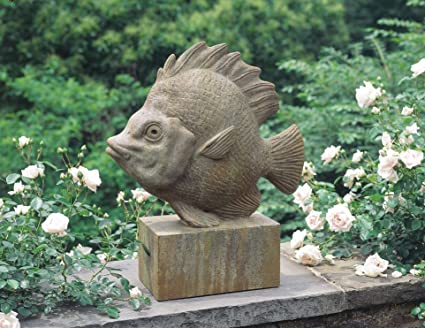 Campania International A 279 GS Tropical Fish Statue, Grey Stone Finish