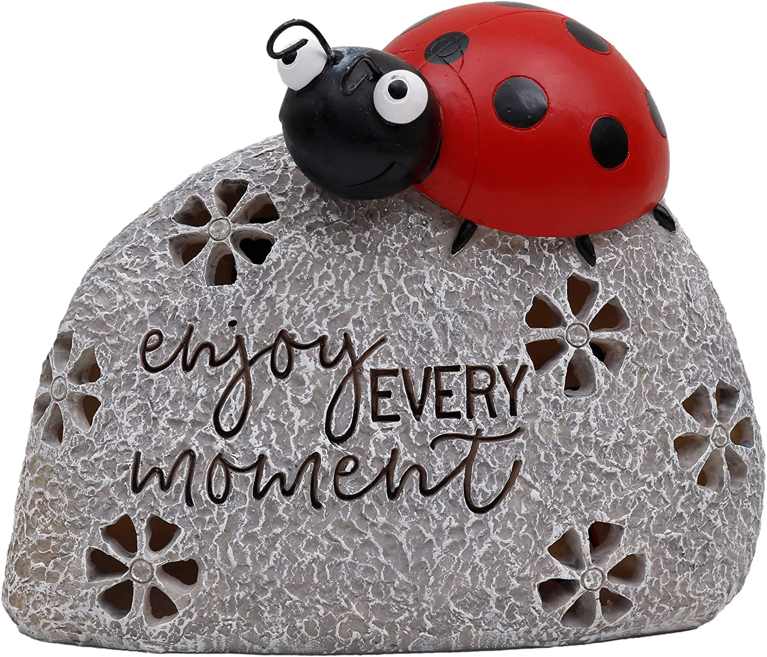 TERESA'S COLLECTIONS 5.1 Inch Ladybug On Stone Garden Statues, Enjoy Every Moment Fairy Garden Figurine with Solar Powered Garden Lights for Outdoor Halloween Fall Patio Yard Decorations