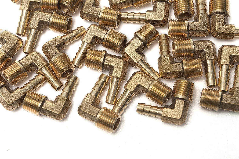 12mm G/én/érique 90 Degr/é Coude Laiton Barbillon Raccord 1//2 M/âle BSPT x 1//2 paquet de 5 ID Tuyau Carburant Bateau Eau