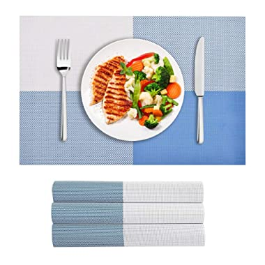 VEEYOO Placemats Woven Vinyl Insulation Stain Resistant Washable Big Cross Table Placemats Kitchen Dining Table Meal Mat Place Mats,Set of 4, Blue