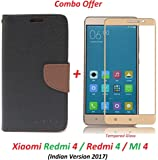 RidivishN (COMBO OFFER) Flip Cover Case Wallet Style For Mi Redmi 4 / Xiaomi Redmi 4 ( Black:Brown ) + 2.5D curved 3D Tempered Glass Screen Protector ( Gold )