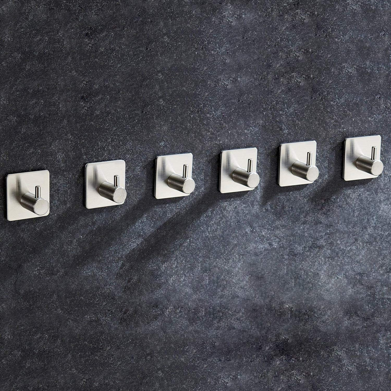 5 Piezas Ganchos Adhesivos Aikzik Max 8KG Toallero Perchero Pared de Cocina Ba/ño Autoadhesivo Perchero de Acero Inoxidable Colgadores de Puerta Organizador