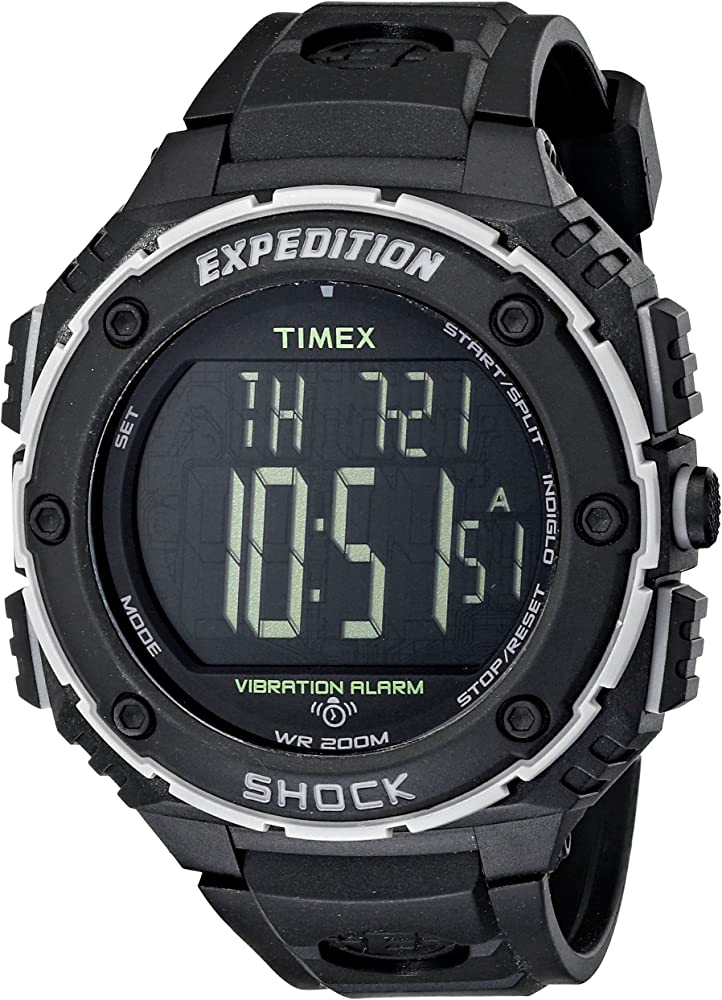 Amazon.com: Timex Men's T49950 Expedition Shock XL Vibrating Alarm Black  Resin Strap Watch: Timex: Watches