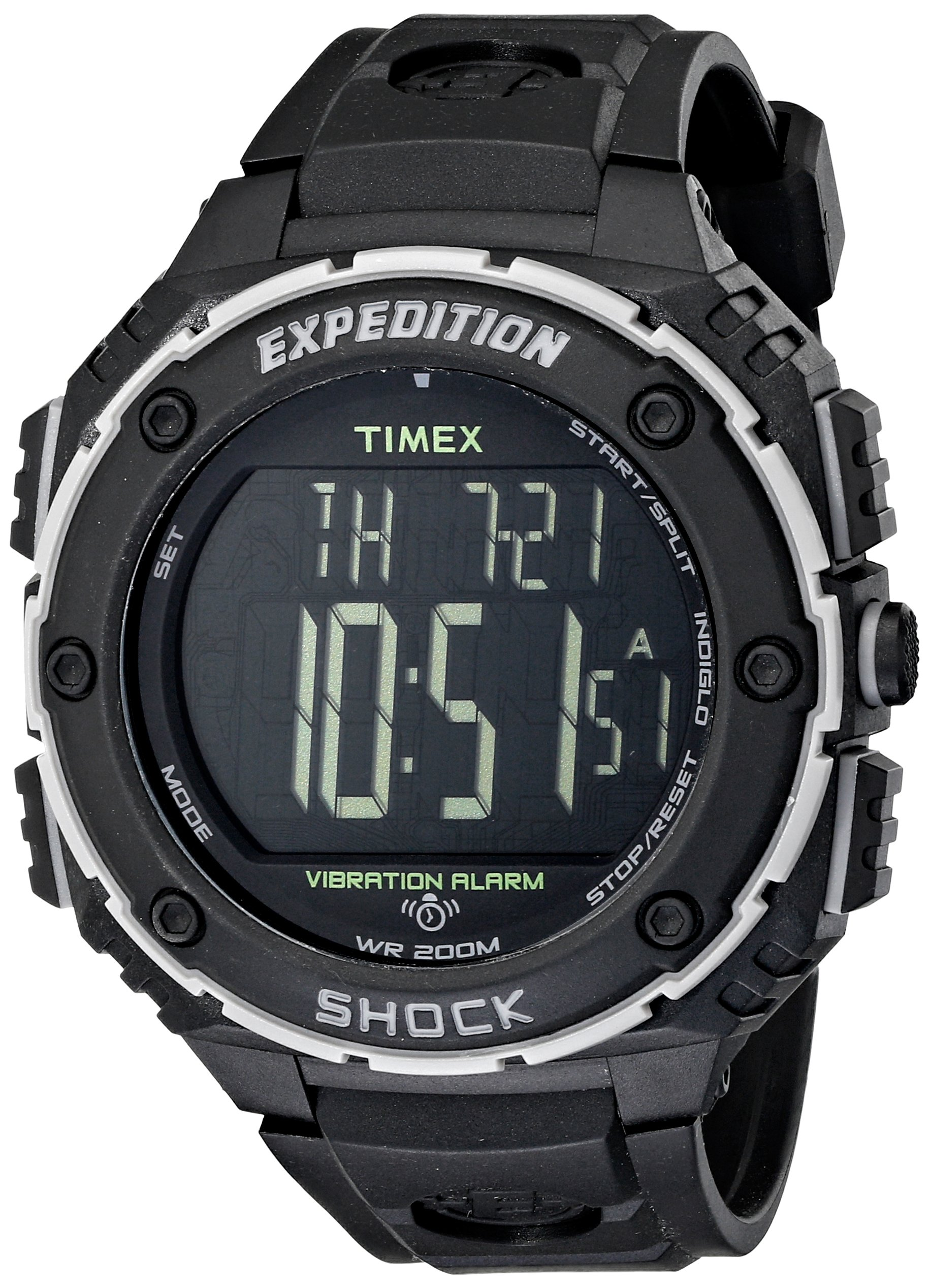 Timex Men's T49950 Expedition Shock XL Vibrating Alarm Black Resin Strap Watch by Timex