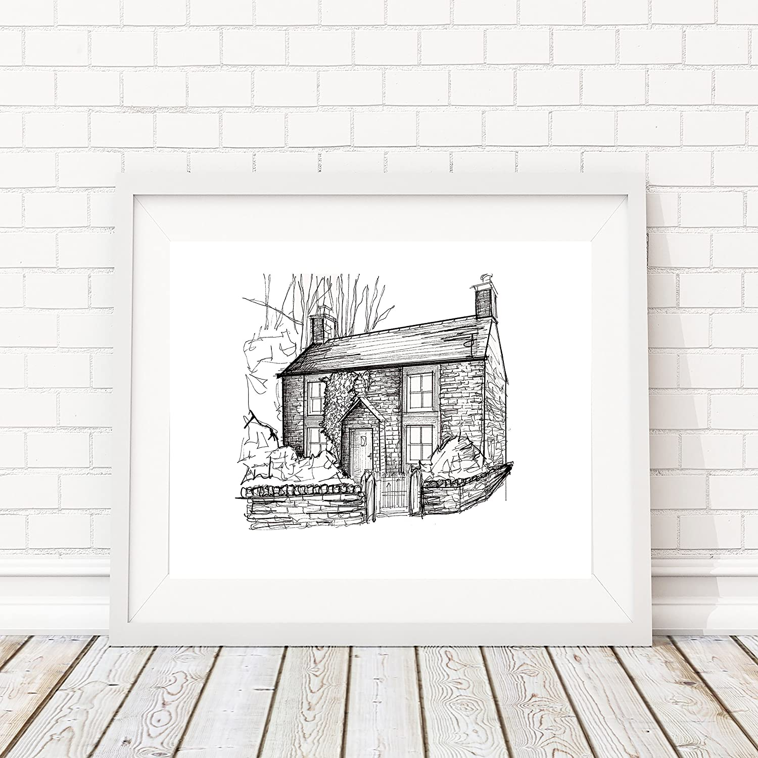 Custom Personalized Pen and Ink Stylistic House/Residential Portrait | 8x10 Hand Sketched Artwork