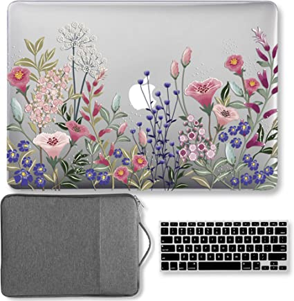 GMYLE MacBook Pro 13 inch Case 2018 2017 2016 Release A1989//A1706//A1708 with//Without Touch Bar and Touch ID Plastic Hard Case Vintage Flower Set Felt Storage Pouch Bag Keyboard Cover