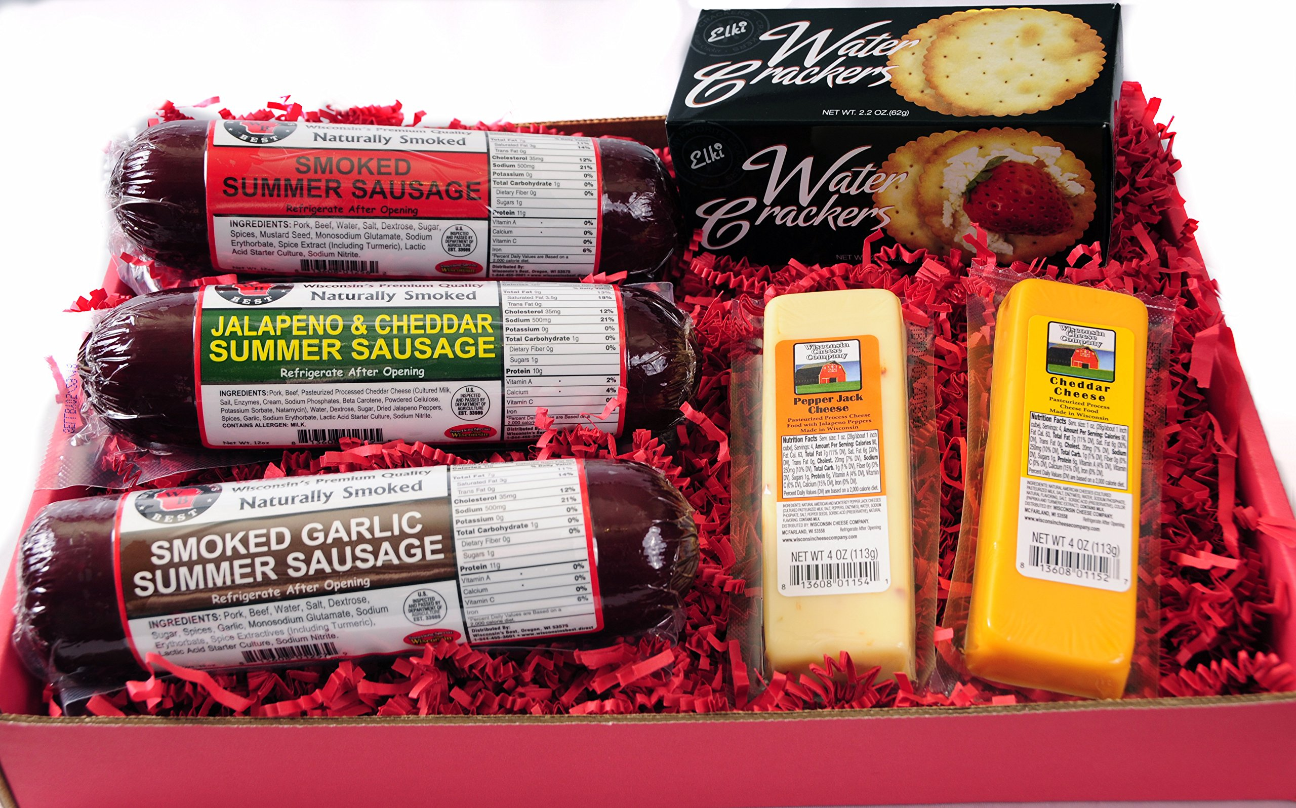 The Man's Snacker Sausage, Cheese & Cracker Gift Basket - Cheddar and Jalapeno