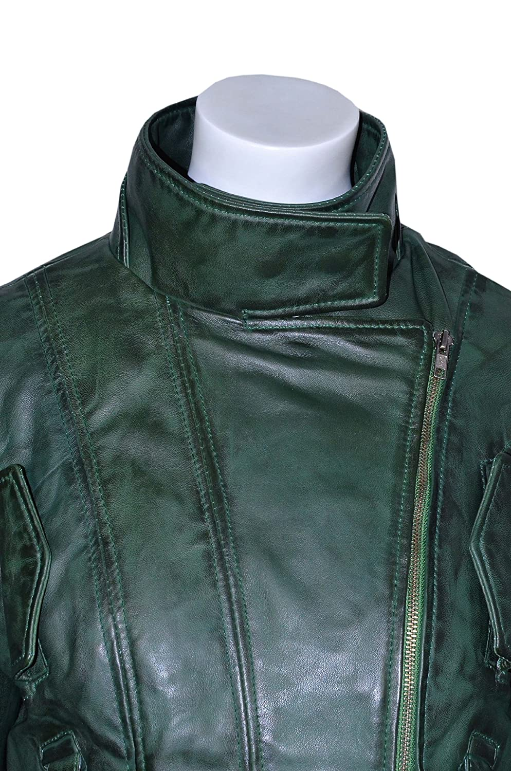 SUPERMODEL Ladies PURPLE GREEN Rock Biker Style Designer Real Nappa Leather Jacket at Amazon Womens Coats Shop