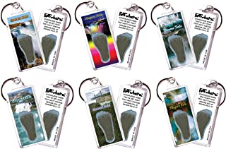 """product image for Niagara Falls""""FootWhere"""" Souvenir Keychains. 6 Piece Set. Made in USA"""