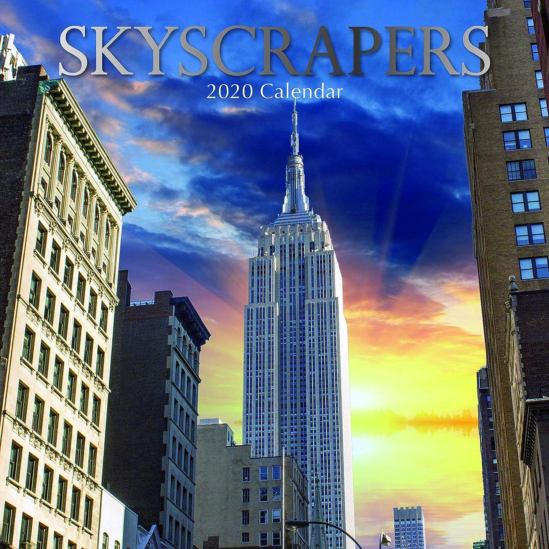 Calendario 2020 de pared con imágenes de rascacielos (30 cm x 30 cm), vista mensual, 16 meses. Incluye 180 pegatinas recordatorias
