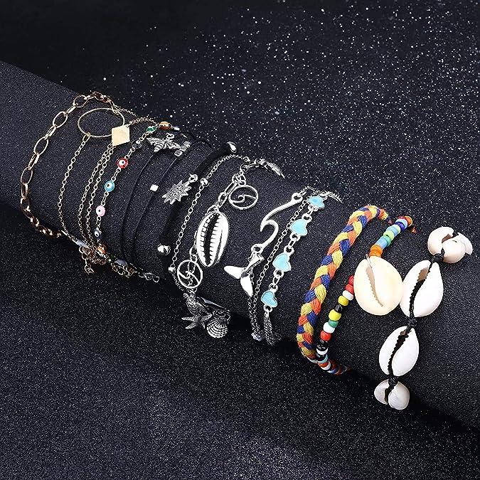 Milacolato 12 Pcs /À La Main Starfish Tortue Cheville Bracelets pour Femmes Filles R/églable Charme Cheville Boho Cheville Cha/înes Pied Bijoux Ensemble