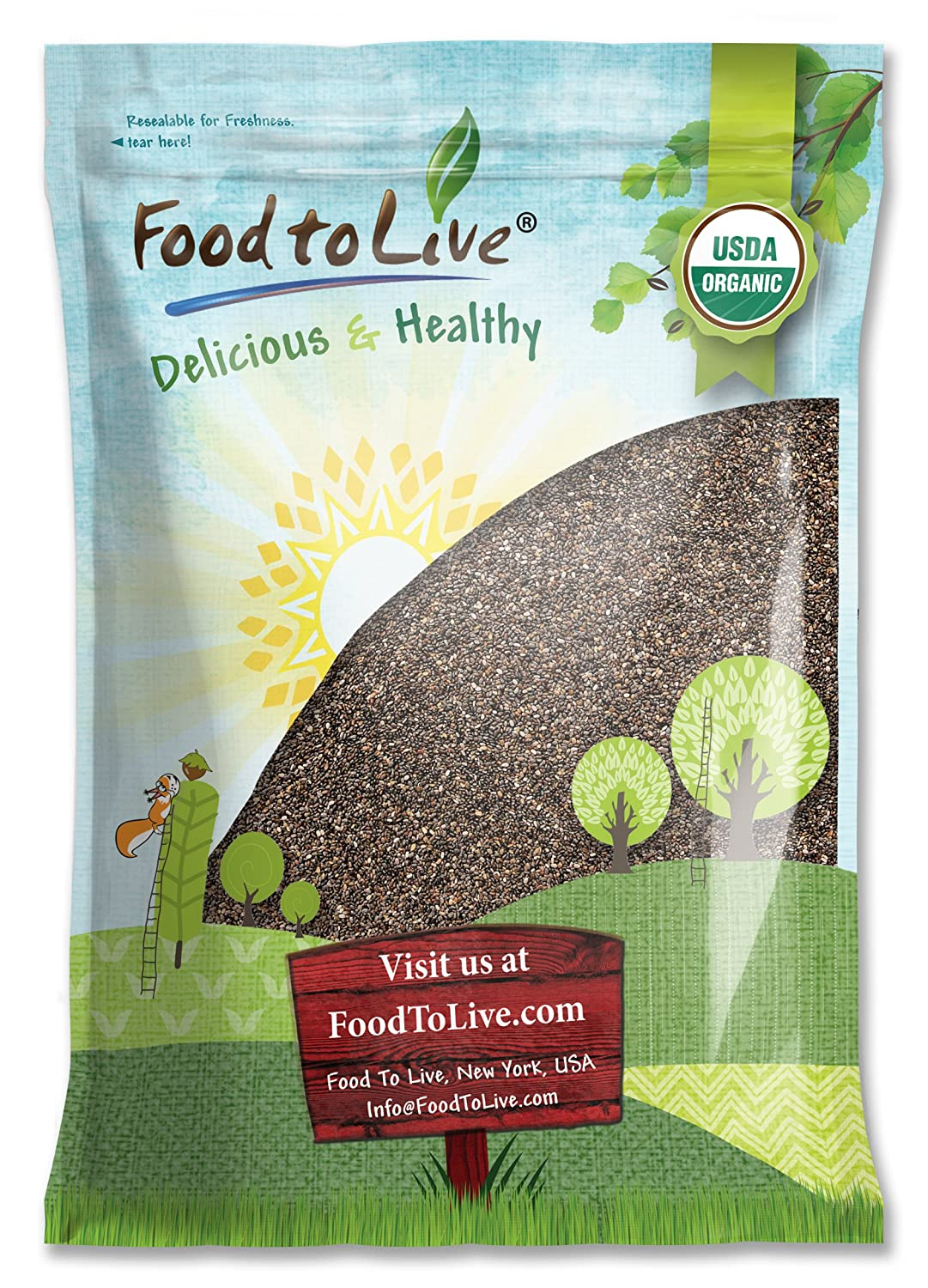 Organic Chia Seeds, 15 Pounds — Black, Vegan, Kosher, Non-GMO, Great for Smoothies