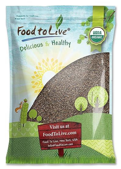 Food to Live Las semillas de chía Bio certificadas (Eco, Ecológico, crudas,