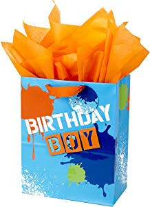 "Hallmark 13"" Large Gift Bag with Tissue Paper (Blue and Orange Birthday Boy) for Birthdays, Kids Parties and More"