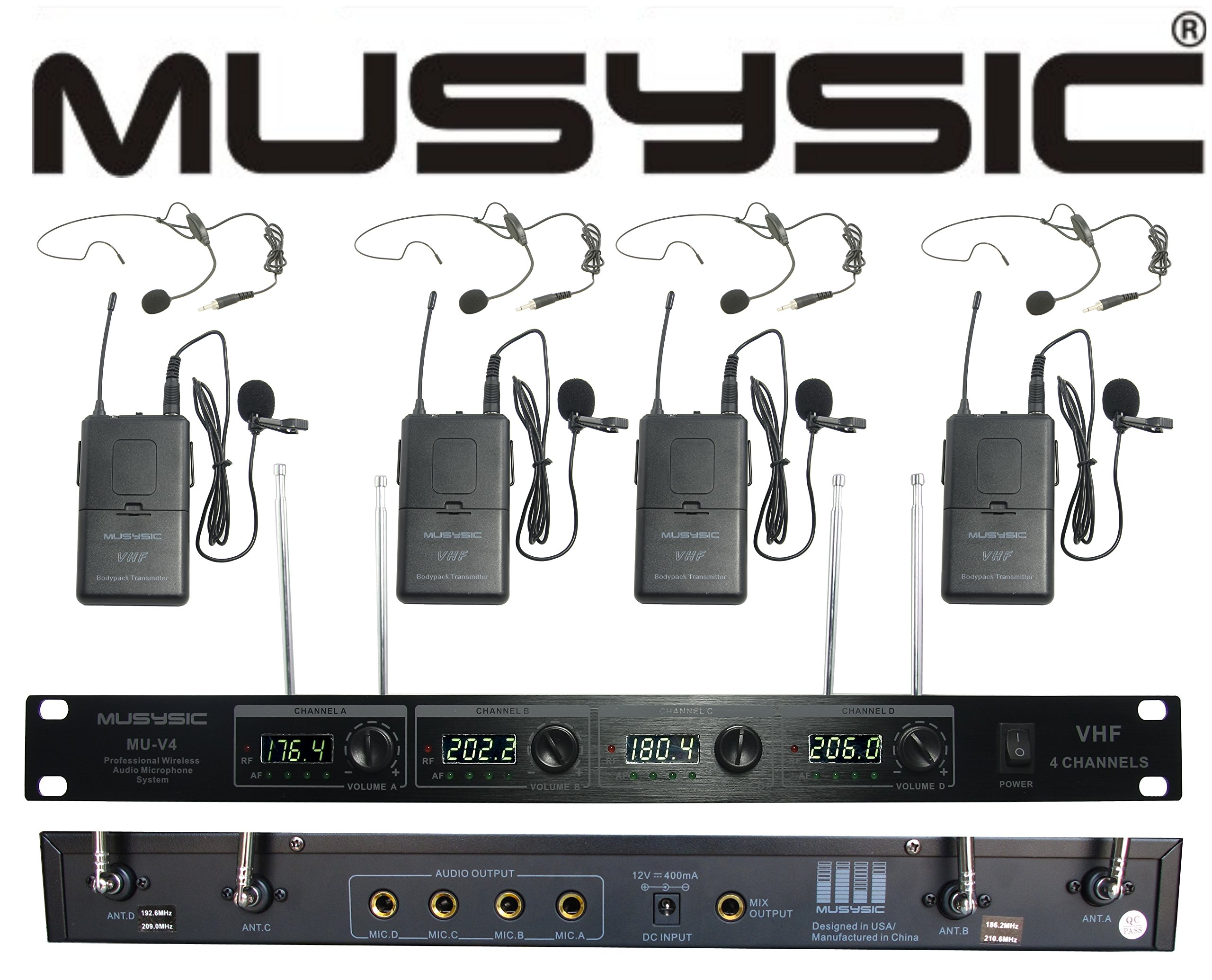 4-Channel Professional VHF Lapel/Lavalier & Headset Wireless Microphone System by MUSYSIC