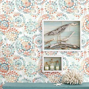 RoomMates - RMK9126WP Bohemian Orange and Blue Peel and Stick Wallpaper