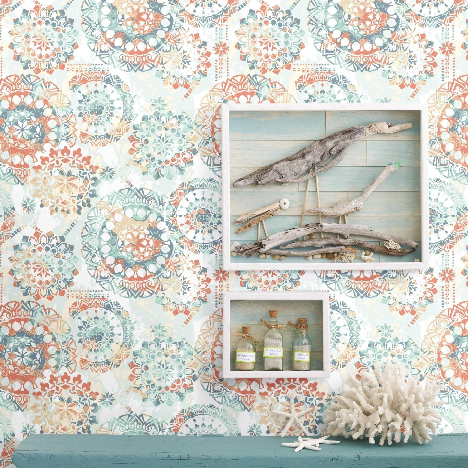 RoomMates Bohemian Orange and Blue Peel and Stick Wallpaper by RoomMates