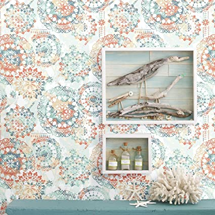 Roommates Bohemian Orange And Blue Peel And Stick Wallpaper