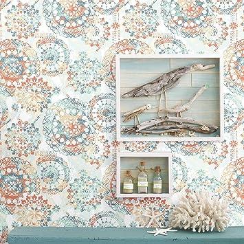 RoomMates RMK9126WP Bohemian Peel And Stick Wallpaper 205quot X 165 Feet Orange