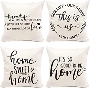 pinata Farmhouse Pillow Covers, This is Us Home Sweet Home Decorations Throw Pillow Case for Sofa Couch, Housewarming Gifts for New Home, Cushion Case Linen 18x18 Inch Set of 4
