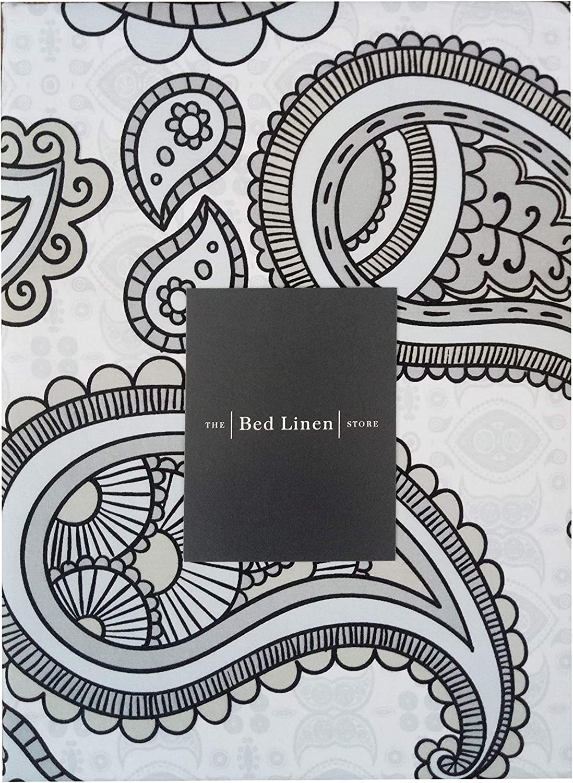 color blanco Juego de funda de edred/ón y funda de almohada Doubl/é 100/% algod/ón, 180 hilos natural algod/ón The Bed Linen Store Paisley