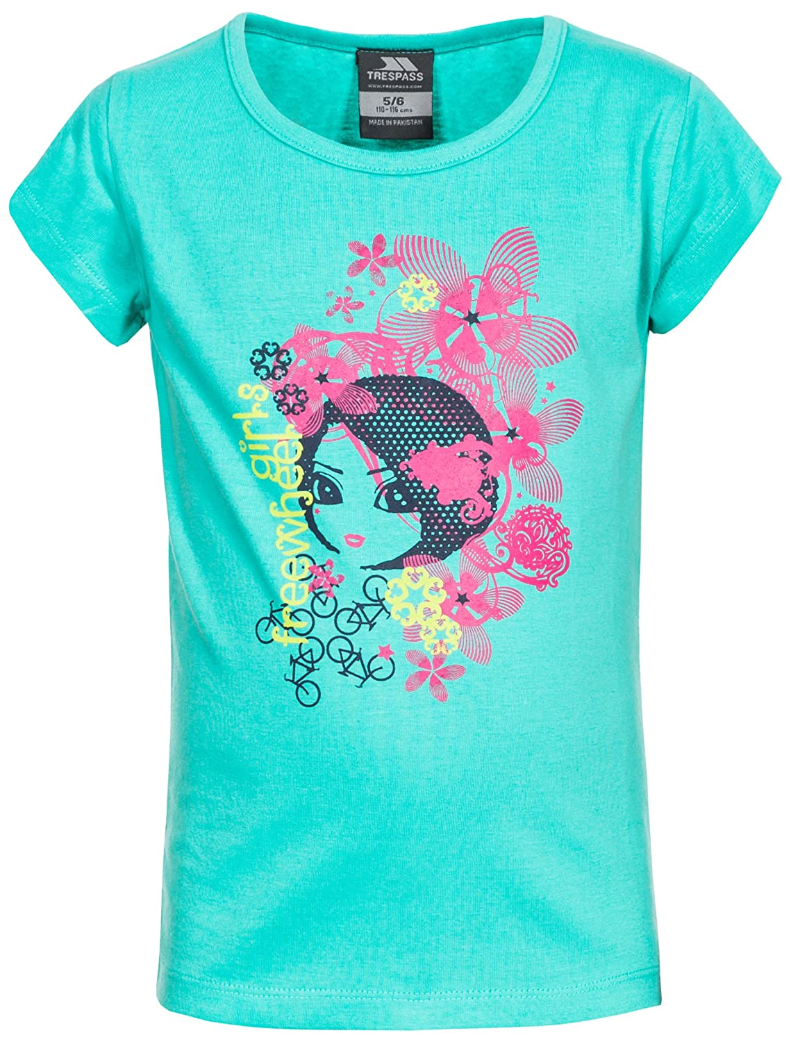 Trespass Kids Freewheel T-Shirt with Cool Frontal Print for Children Girls/Toddlers Ages 2-12 for Outdoor/Fun/Sports/Leisure