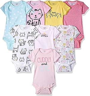 4e8ebef45 Amazon.com: Gerber Baby Girls' 4-Pack Short-Sleeve Onesies Bodysuit ...