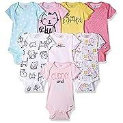 Onesies Brand Baby Girls' 8-Pack Short-Sleeve Bodysuit, Cats, Newborn