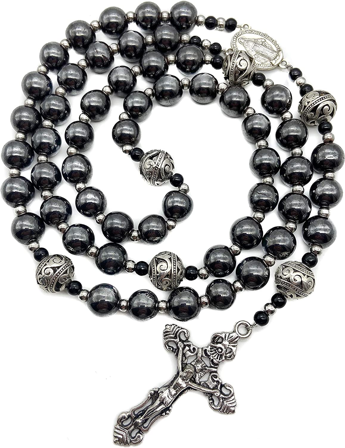 Nazareth Store Hematite Rosary Black Stone Beads Necklace Metal Beaded Miraculous Medal & Cross Rosary for Men and Womens NS