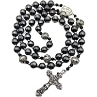 Nazareth Store Hematite Rosary Black Stone Beads Necklace Metal Beaded Miraculous Medal & Cross Rosary for Men and…
