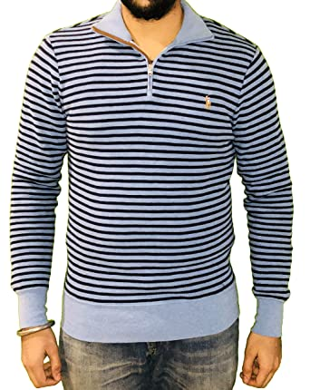 ee12ad8803bec Polo Ralph Lauren Men s 1 4th Zipper Sweater Navy Blue Stripes (Small)