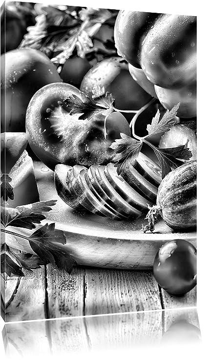 Monocrome, ensalada de fruta pepino vegetales comida tomatoon lienzo ...