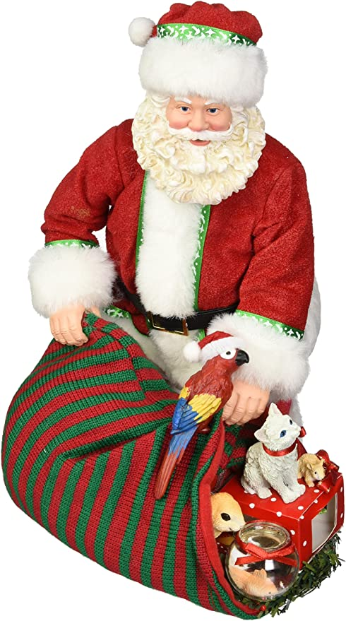 Santa Claus and Cat with Stocking Lot of Three Sculpted Polyresin Christmas Figurines Angel