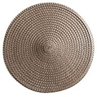Set of 12 pieces Polyproplene Braid Woven Round Placemats/Place Mats 15 Inches (Brown)