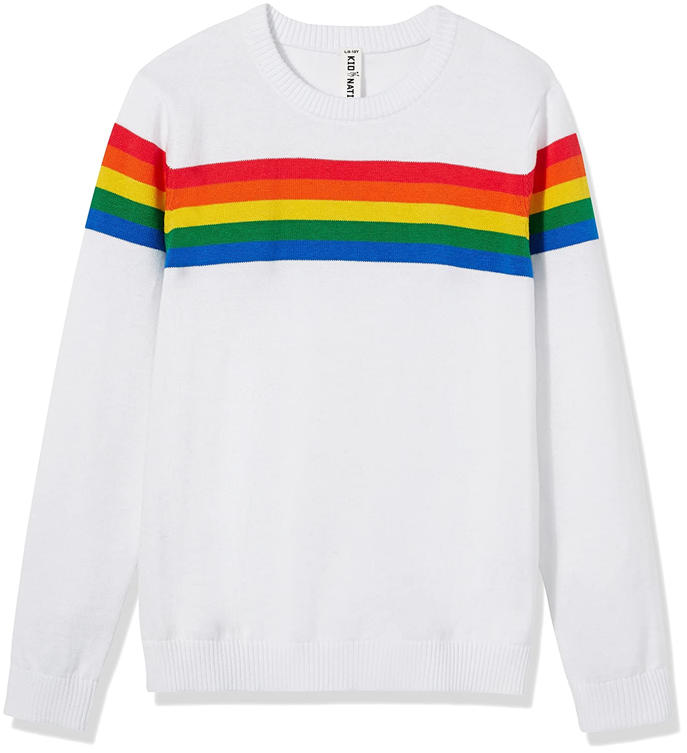ba6c3ef7458f0 Kid Nation Kids' Sweater Long Sleeve Rainbow Stripe Pullover Round Neck  Cotton Knit for Boys and Girls School Uniform