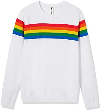 c815a50de Kid Nation Kids' Sweater Long Sleeve Rainbow Stripe Pullover Round Neck  Cotton Knit for Boys
