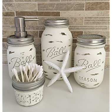 Coastal Essentials Hand Painted All White Rustic 4 Piece Distressed Mason Jar Bathroom Accessories Set