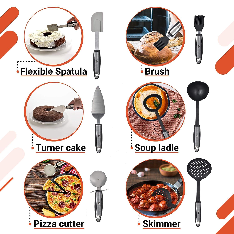 Amazon.com: Juego de 25 herramientas de cocina de acero ...
