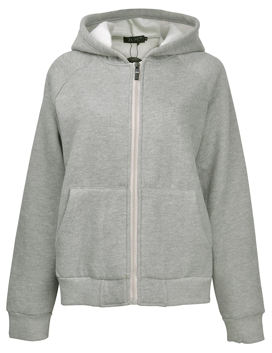 ZLYC Women Basic Crop Fit Full Zip Fleece Hoodie Sweatshirt Jacket with Pockets Light Grey) JC-HS-8088-LGR-L_CA