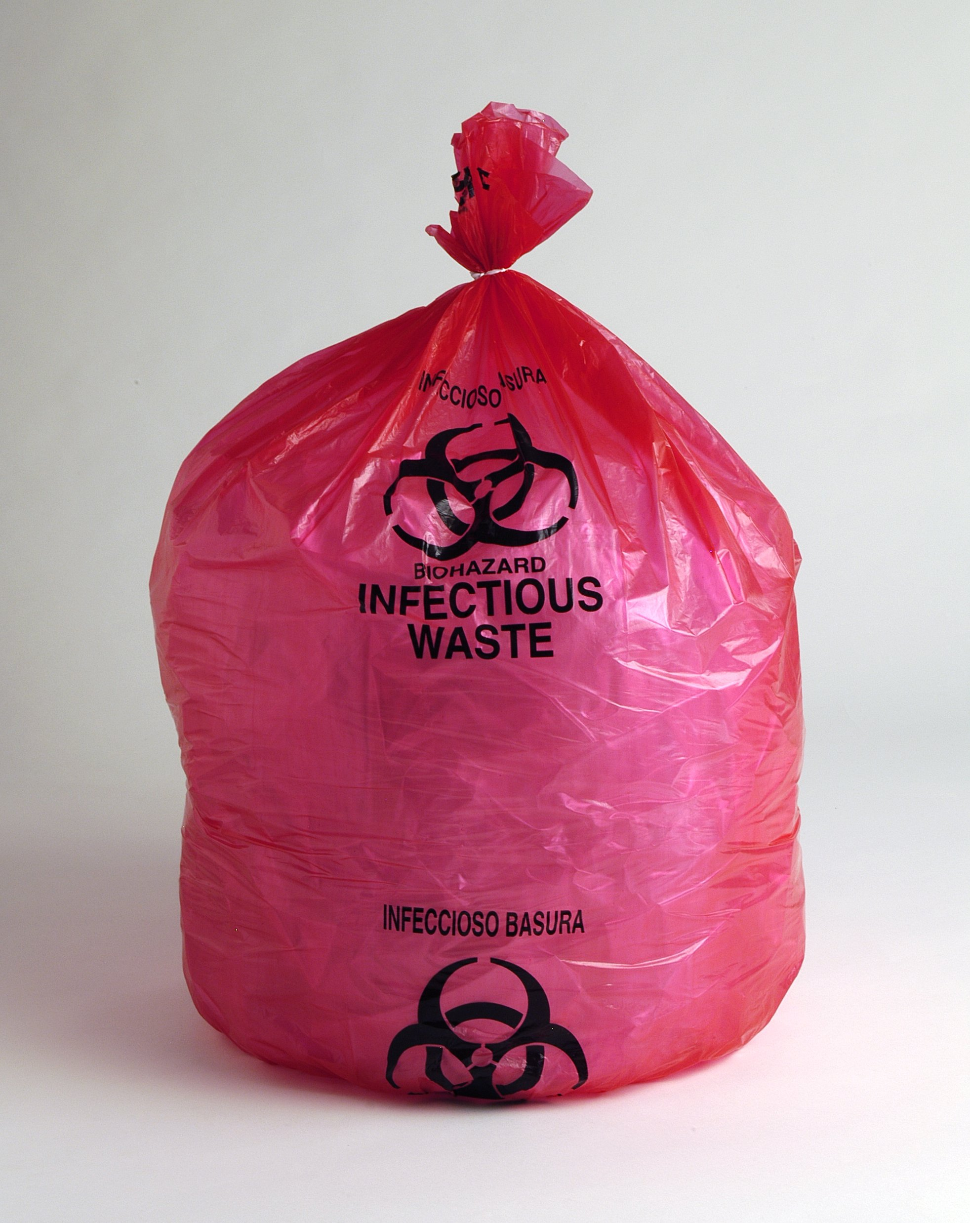 30'' X 36'' 1.5 Mil Red Infectious Waste Biohazard Trash Bags (80 Bags on Roll) - Elkay Plastics LBOR3036RE