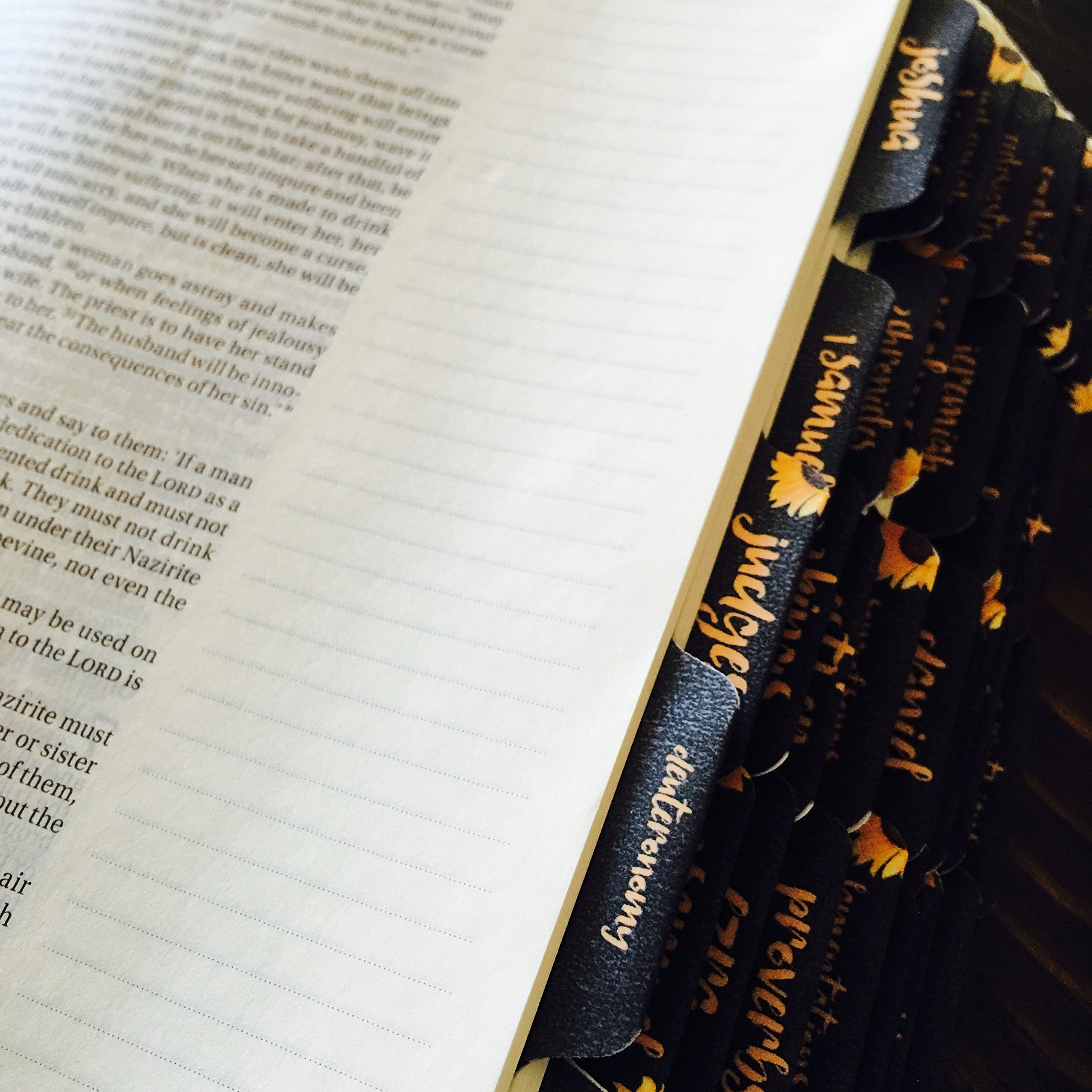 Bible Tabs (Protestant - 66 Tabs), Matte Satin Finish, Sunflowers on Black, Bible Index Tabs - by Simmer and Sprout
