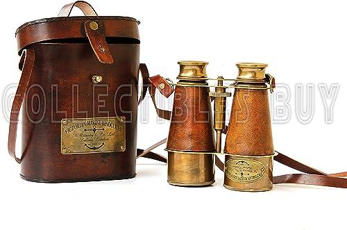 Antique Victorian Marine Brass Leather Binocular Sailor Instrument London 1915 Orange