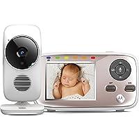 Motorola MBP 667/ MBP 845 Connect - Vigilabebés vídeo Wi-Fi con pantalla LCD a color, modo eco, alertas para movimiento, sonido y temperatura ambiente, color blanco