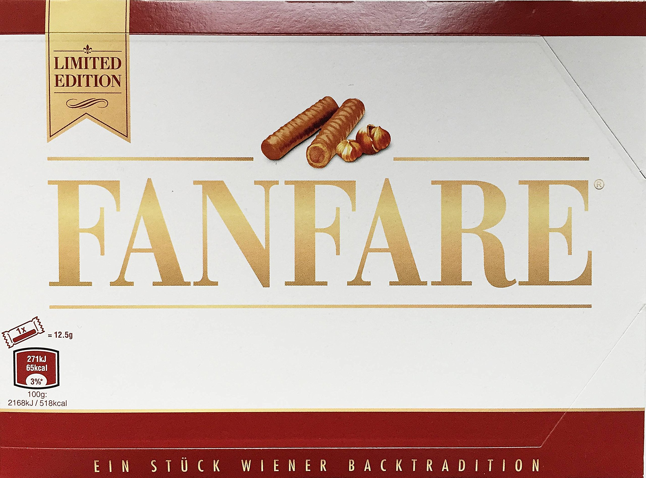 FANFARE Schokoröllchen Chocolate Rolls from Vienna, package with 150 Grams, SET OF 4 PACKAGES, total 600 GRAMS