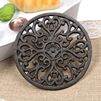 Famibay Round Cast Iron Trivet Iron Heat-insulation Trivet Non-slip Potholders with Rubber Pegs Vintage Pattern for…