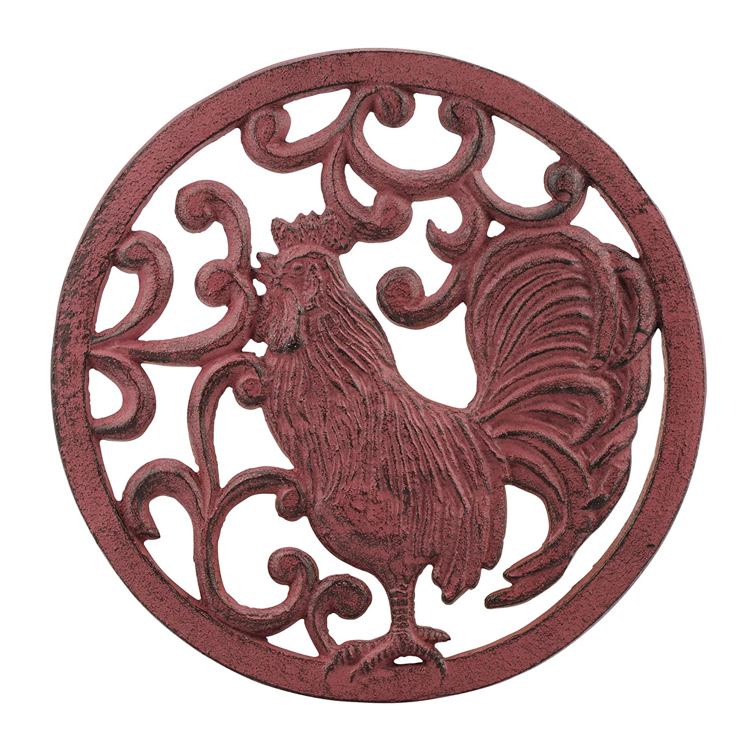 Stonebriar Farmhouse Red Cast Iron Rooster Trivet
