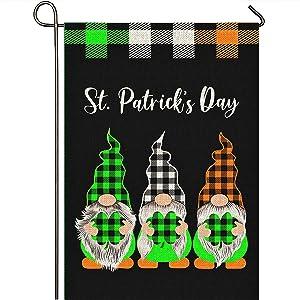 Mogarden St. Patrick's Day Garden Flag, Double Sided 12.5 x 18 Inch, Buffalo Check Plaid Ireland Shamrock Premium Burlap Small Irish 3-Gnome Garden Flag