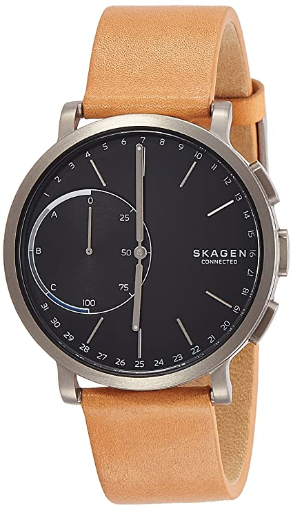 Skagen Hagen Titanium and Leather Hybrid Smartwatch SKT1104, Color Silver Tone, Tan