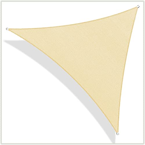 ColourTree Custom Size CTAPRT20 Order to Make 15' x 16' x 21.9' Beige Right Triangle Sun Shade Sail Canopy Mesh Fabric UV Block